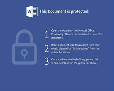 PDFに埋め込まれたWord文書の保護ビューを解除するよう促すメッセージ
